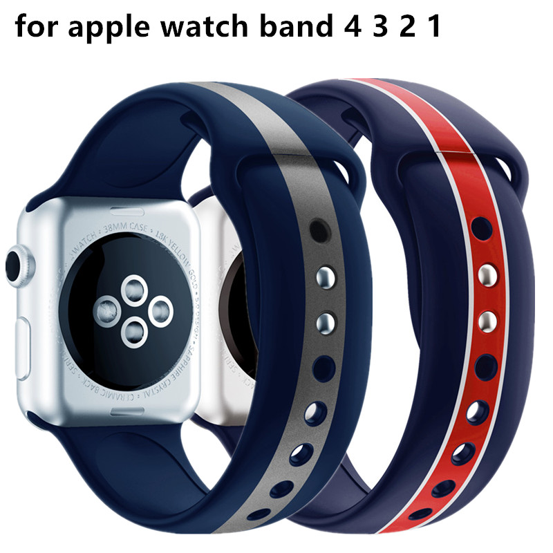 Blue Silicone Strap For Apple Watch Band 4 44mm 40mm Sports Replaceable Bracelet For Iwatch Series 3 2 38mm 42mm Watchband Belt