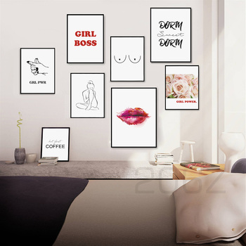 Line Girl Flower Quote Feminist Art Print Wall Art Canvas Painting Nordic Posters and Prints Wall Pictures For Living Room Decor cactus coconut leaves quote wall art canvas painting nordic posters and prints landscape wall pictures for living room decor