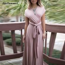 2017 Women Summer Beach Dress elegant multi-way backless pink Evening Gowns Wedding party Long Maxi Dress vestido for Lidies(China)