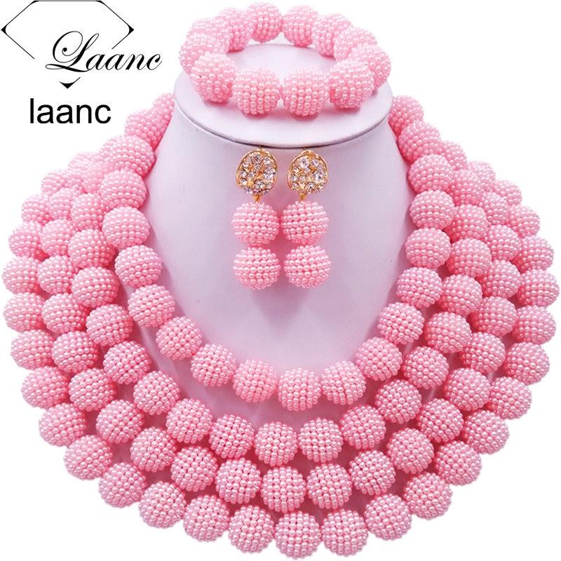 Laanc nigérian mariage perles africaines ensemble de bijoux rose simulé perle collier de perles 4RDSZ016