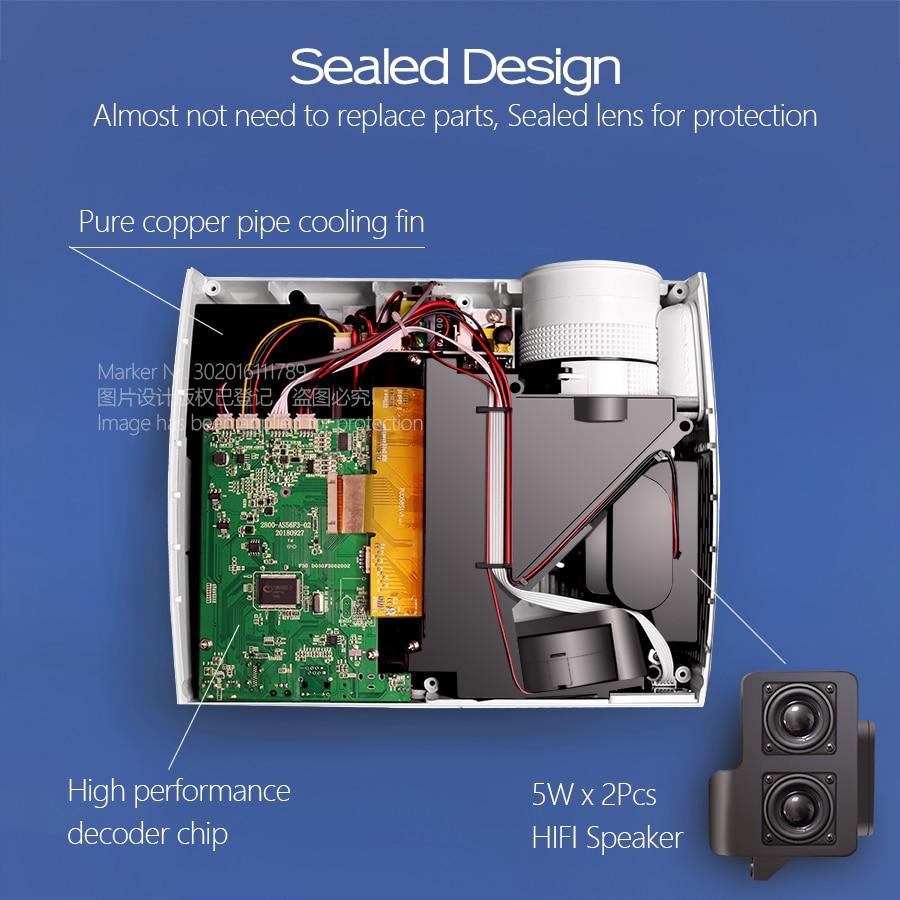 AUN projecteur Full HD F30UP, 1920x1080 P. Android 6.0 (2G + 16G) WIFI, MINI projecteur LED pour Home Cinema, Support vidéo 4K - 4