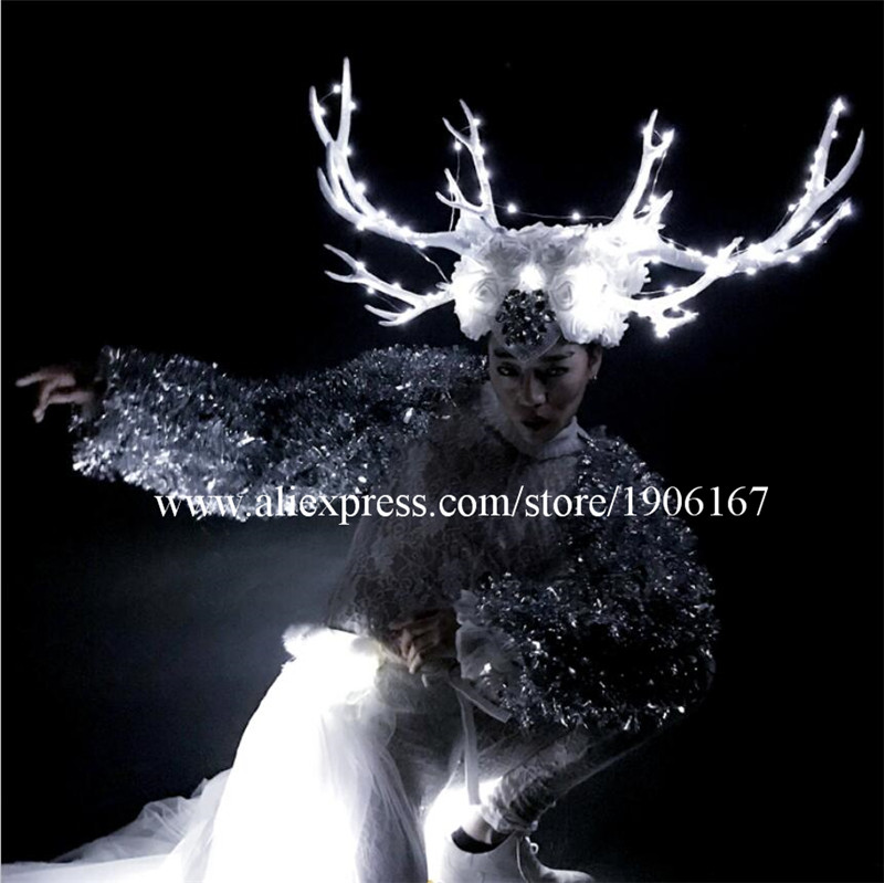 DS dance team Christmas white costumes large antlers LED headwear costumes03