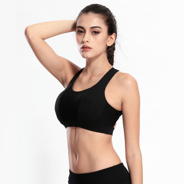 f120aea526 Women Breathable Sports Yoga Fitness Padded Bra Running Push Up Seamless Overlapping  Top Bras drop shipping