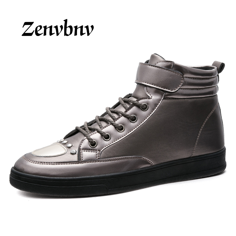 ZENVBNV 2017 New Fashion High Top Casual Shoes For Men PU Leather Lace Up Red Black Color Mens Casual Shoes Men High Top Shoes 2017 spring brand new fashion pu stretch fabric men casual shoes high quality men casual shoes lace up casual shoes men 1709