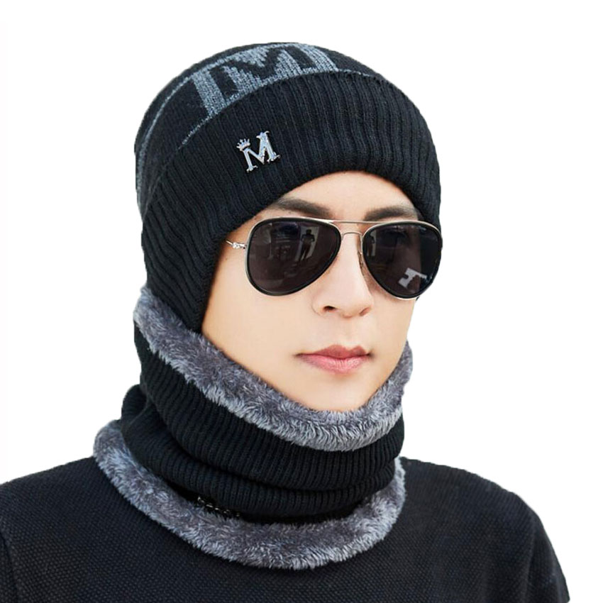 Warm Winter Men Hat Scarf For Wool Women Caps And Scarves Letter Knitted Beanies Cap 2 Pcs Set Male Skullies Mask Bonnet