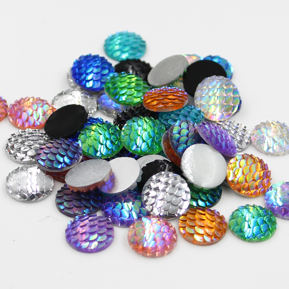 New Fashion 50pcs 12mm Mix Colors Mermaid Fish Scale Style Flat back Resin Cabochons For Bracelet Earrings patch accessories