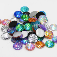 Baru Fashion 50 Pcs 12 Mm Warna Campuran Mermaid Ikan Skala Gaya Datar Kembali Resin Cabochons untuk Anting-Anting Anting-Anting Patch aksesoris(China)