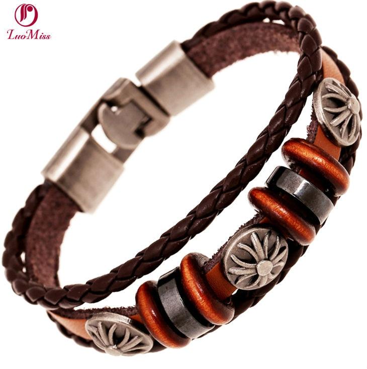 3 Layers Fashion Mini Beads Bracelet Leather Handmade Bracelet for Men Women Feather painted color Weave Retro leather Bangle