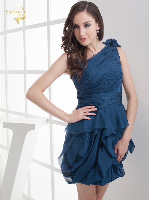 2018 NEW ARRIVAL Cheap Price Vestidos De Formatura Mini Chiffon Fold One Shoulder Flower Short Cocktail Dresses 2018 HCK1235 8
