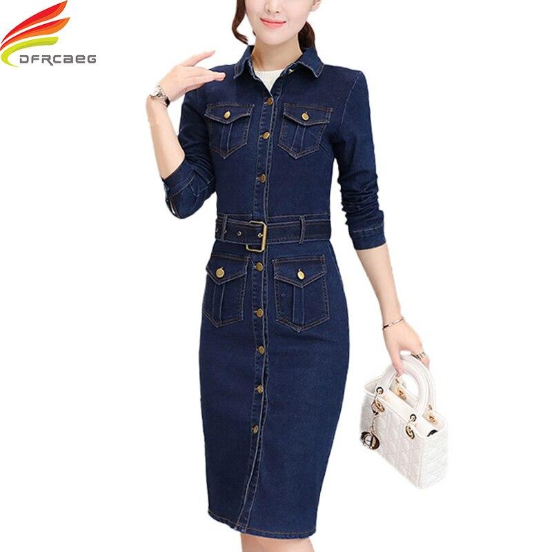 Long Sleeve Denim Dress Women With Belt Autumn Winter Dresses Women 2018 Single Button Slim Bodycon Dresses Elegant Jeans Dress