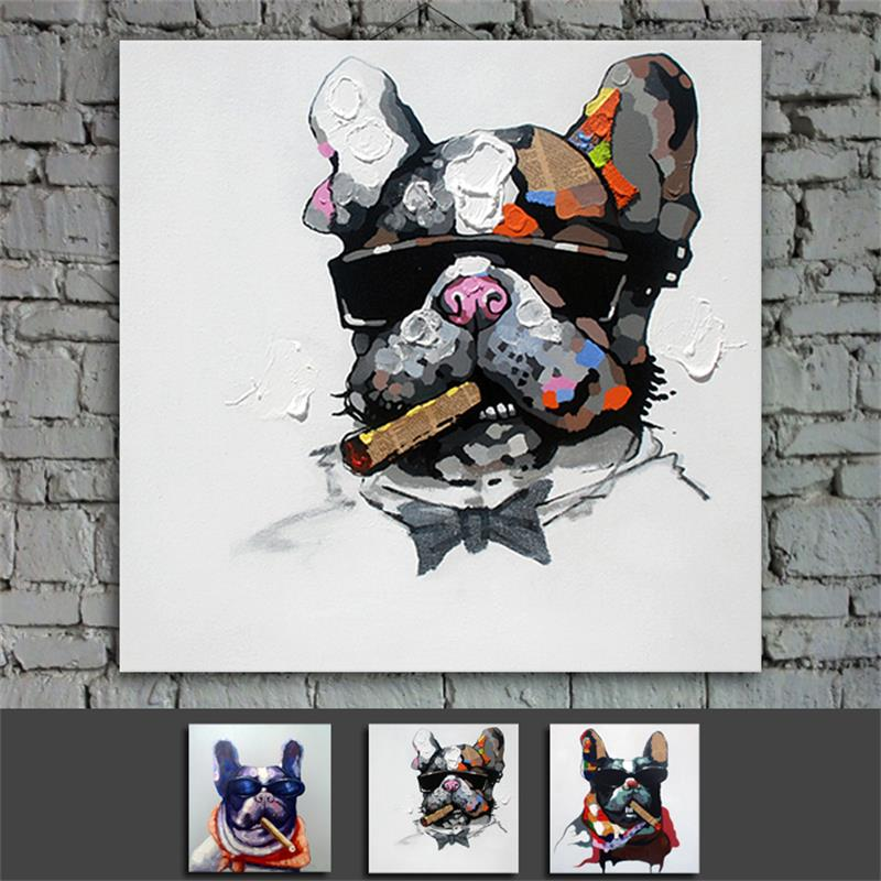 Framed Cool Dog Cartoon  Wall Art from Artist Handmade Modern Abstract Oil Painting on Canvas Gift Home Decor Ready to Hang CT32