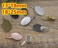 100pcs/Lot Cabochon 13*18mm,18*25mm Antique Bronze/Gold/Silver/Black Copper Drop Ear hook studs cameo,earrings setting stud