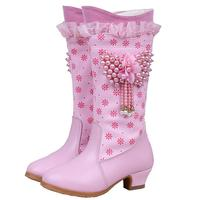 Girls Boots Winter Snow Shoes For Kids Fashion Boots Plush High Heel Mid Calf Bead Plush