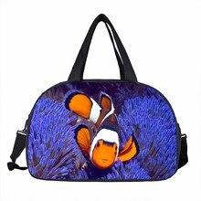 Tropical Fish Men Travel Luggage Bag The Underwater World Travel Hand Bags Boys Large Capacity Duffle Bag 3D Heat Print Tote