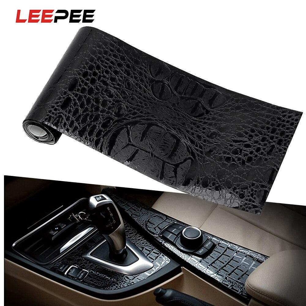 LEEPEE-película adhesiva para coche, 150x10cm, textura de cuero, protección UV, simulación de cocodrilo, decoración Interior de estilismo de motocicleta, color negro