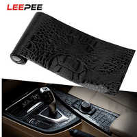 LEEPEE 150*10cm Car Sticker Film Leather Texture UV Protected Simulation Crocodile Black Motorcycle Styling Interior Decoration