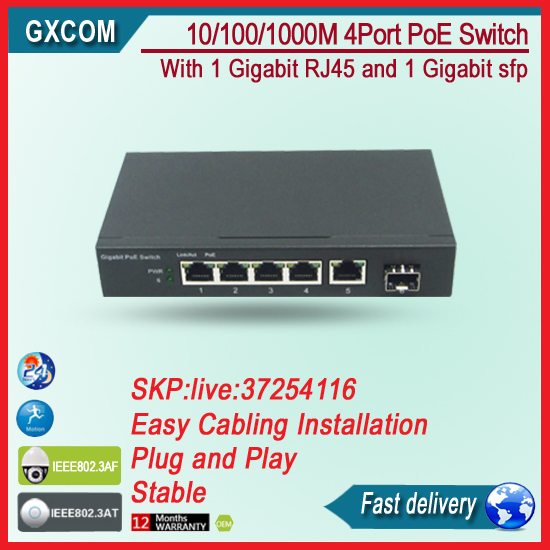 5-Port Gigabit Switch with 4-Port PoE and 1 gigabit SFP fiber port fiber poe switch with 4 rj45 gigabit port for ip camera cctv camera 1 pair