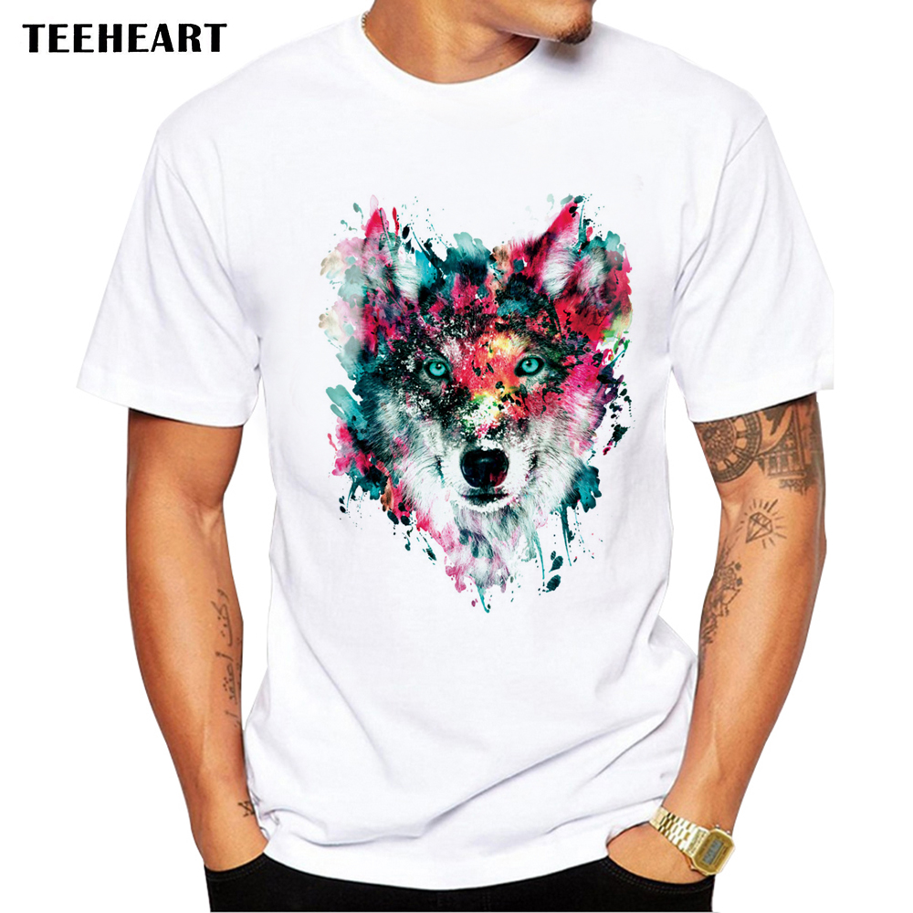 2017 summer custom lion owl wolf tiger cat design t shirt men s