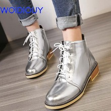 Plus Size Vintage Women Ankle Boots Soft Leather Snow Shoes Motor Mujer Lace Up Gold