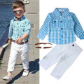 2016 new arrival summer boys Stripe Clothing Set kids Boy cotton shirts+long pant+belt three pieces Kids casual clothing set