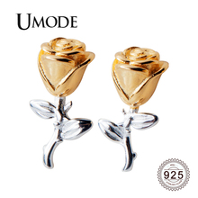 UMODE 2019 New Fashion 925 Sterling Silver Rose Flower Stud Earring for Women Cute White Gold Jewelry Oorbellen Gift ALE0571