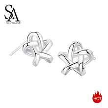 цена SA SILVERAGE 925 Stud Earrings Earings Female Classic Brincos Sterling Silver Star Stud Earrings for Women Fine Jewelry Silver онлайн в 2017 году