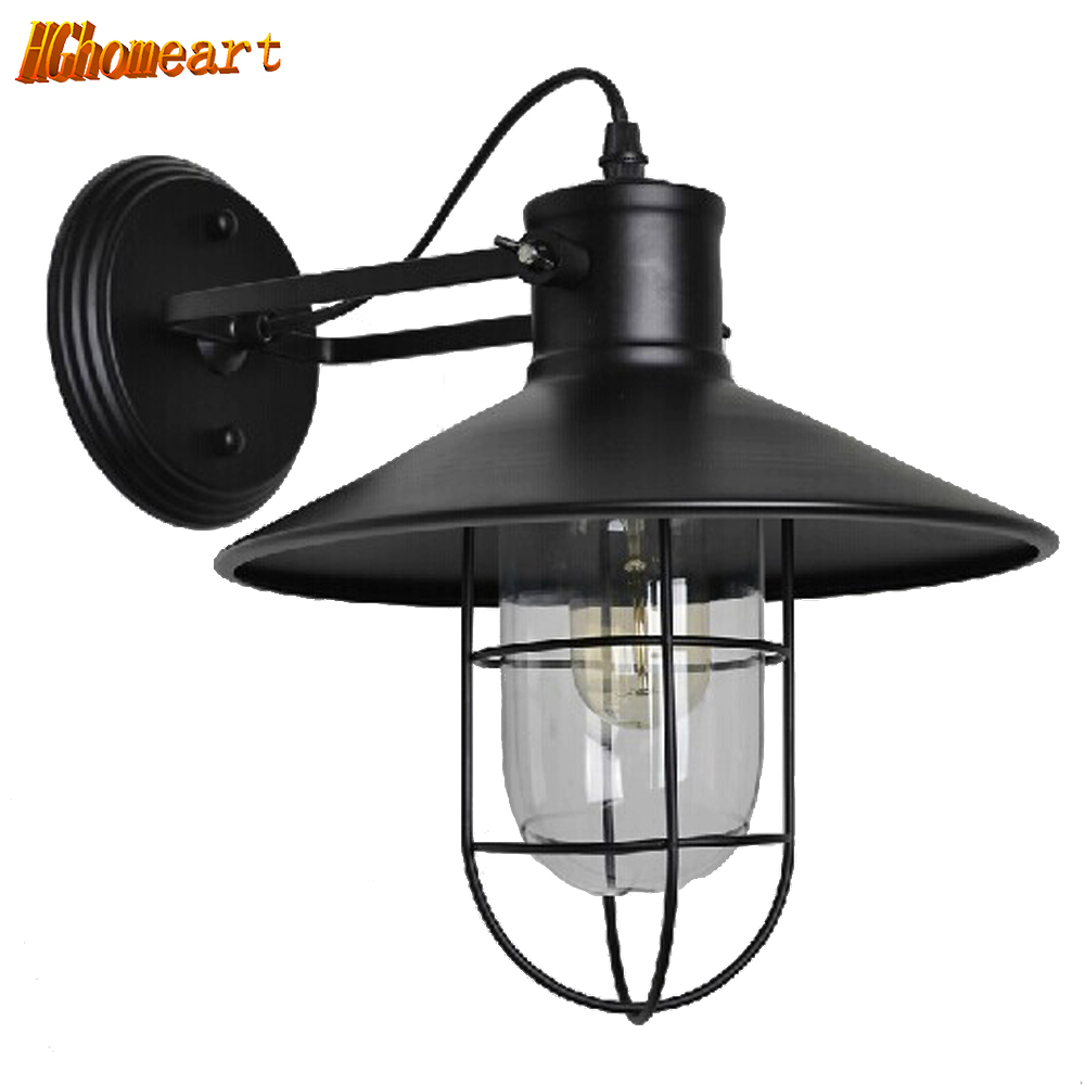 Loft Iron Retro Wall Lamp American Village Personality Simple Restaurant Wall Sconce Aisle Warehouse Birdcage Corridor Light personality creative rope restaurant wall light simple pastoral iron retro wall lamp double section turner lighting
