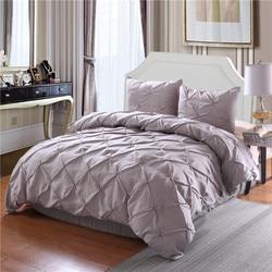 Luxury Duvet Cover Set White/Black/Grey Pinch Pleat 2/3pcs Twin/Queen/King Bedding Sets (No filling,No sheet)
