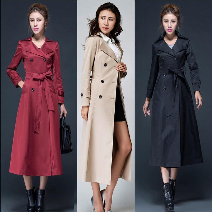 2019 spring and autumn new korean knee long   trench   coats womens england fashion double breasted coat woman slim thin large size