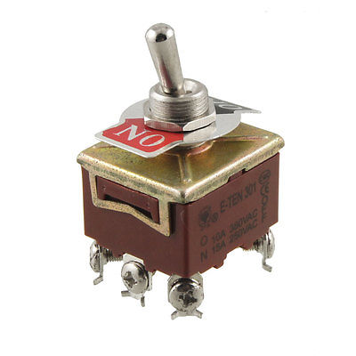 On-Off 2 Way 3PST Latching Toggle Switch AC 15A/250V 10A/380V E-TEN 301 4 10pcs 250v 15a kn1322 toggle switch 6 pins touch on off switches mini small switch controlling the circuits of ac or dc
