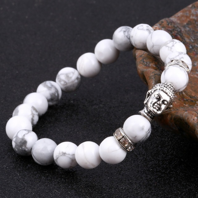 Brand Trendy Natural Beads Strand Bracelet Micro Pave CZ Buddha Head Black Lava Rock Stone Energy Men European Buddha Jewelry
