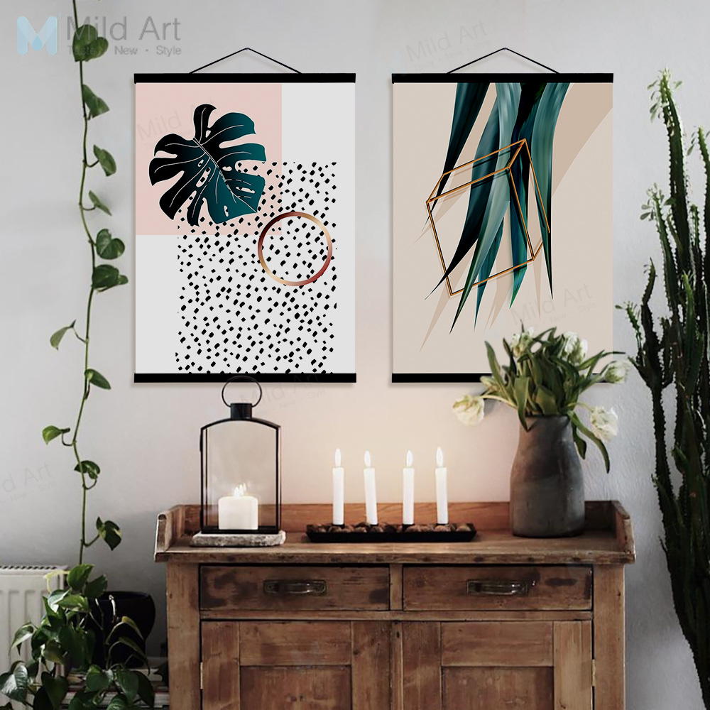 Us 8 36 47 Off Green Plants Monstera Leaf Wooden Framed Poster Print Scandinavian Living Room Wall Art Picture Home Decorcanvas Painting Scroll In
