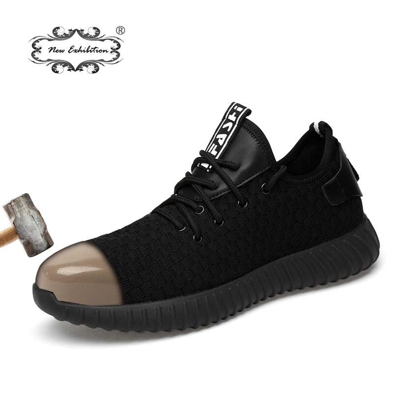Novos homens Moda Sapatos de Segurança Respirável voando tecido exposição Anti-esmagamento biqueiras de aço Anti-perfuração de fibra dos homens sapatos de trabalho