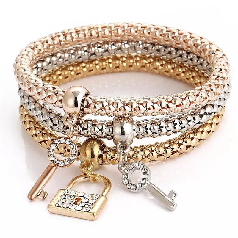 New Charm 3-color popcorn elastic chain Girl Key lock Rhinestone Zircon Pendant Luxury Hostess's gift Bracelet & Bangle Jewelry(China)