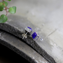 Silver S925 Pure Silver Jewelry Earrings Wholesale Taiyin Pure Handmade Lady Blue Stone Earrings New Products character silver product s925 pure silver jewelry fashion earrings wholesale handmade lady hetian jade earrings