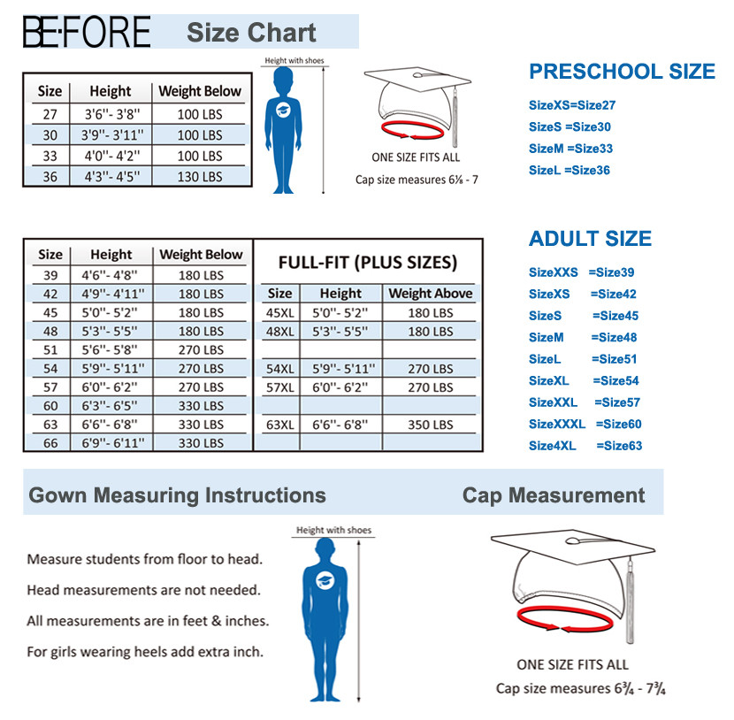BE-FORE Size Chart