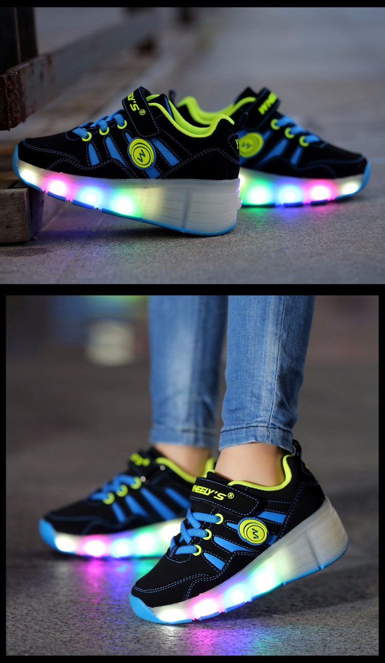 High Quality Cheap Boys LED Sneakers With Wheels Kids Light Up Shoes Girls Roller Skates tenis de rodinha6