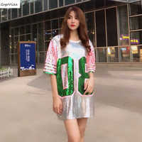 Sequins hip hop Short sleeve t shirt 2019 women Oversize Long Patchwork Top Tees ulzzang Punk Tops Plus size LT258S50