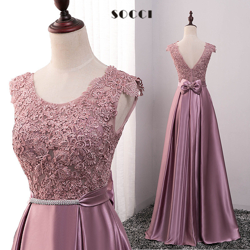 Long purple satin lace evening dress 2016 mother of the bride dresses red crystal sashes vestido