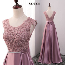 Long purple satin lace evening dress 2016 mother of the bride dresses red crystal sashes vestido.jpg 250x250