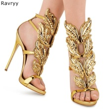 Gladiator Sandals Heel Bling Open-Toe Metallic Flame-Design Sexy Woman Summer Pu Cover