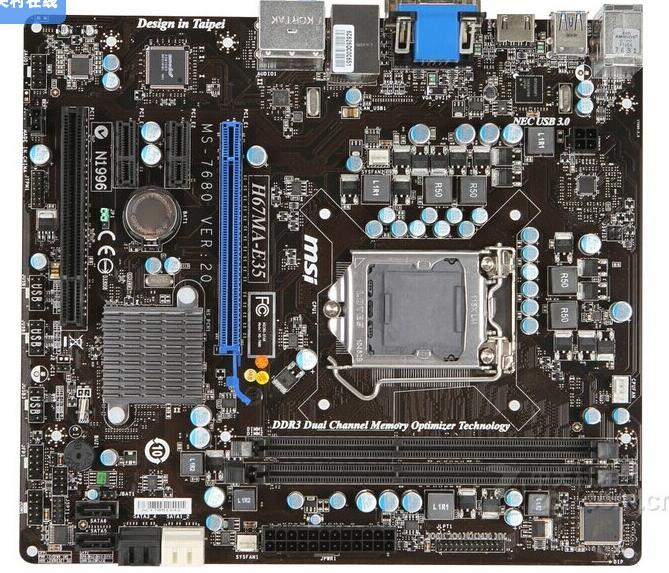 H67 1155 motherboard Used origin for MSI H67MA-E35(B3) LGA 1155 DDR3 16GB for i3 i5 i7 H67 Desktop motherborad