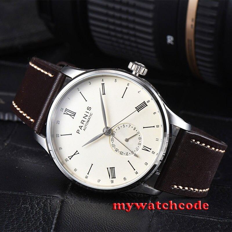 Regalo 42mm Parnis beige dial 24 horas Handset ST1690 movimiento automático hombre reloj-in Relojes deportivos from Relojes de pulsera    1