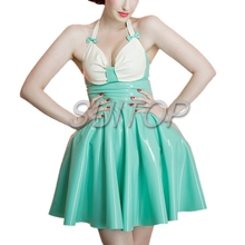 candy blue color latex casual mini dress pussy suits for woman princess sweet sundress lovely SUITOP