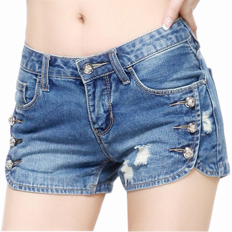 Woman'Sexy Hole Denim   Shorts   Ladies'Casual Mid Ripped   Short   Jeans Feminino BrandSummer Spring Plus Size 26-32 Beach Denim   Shorts