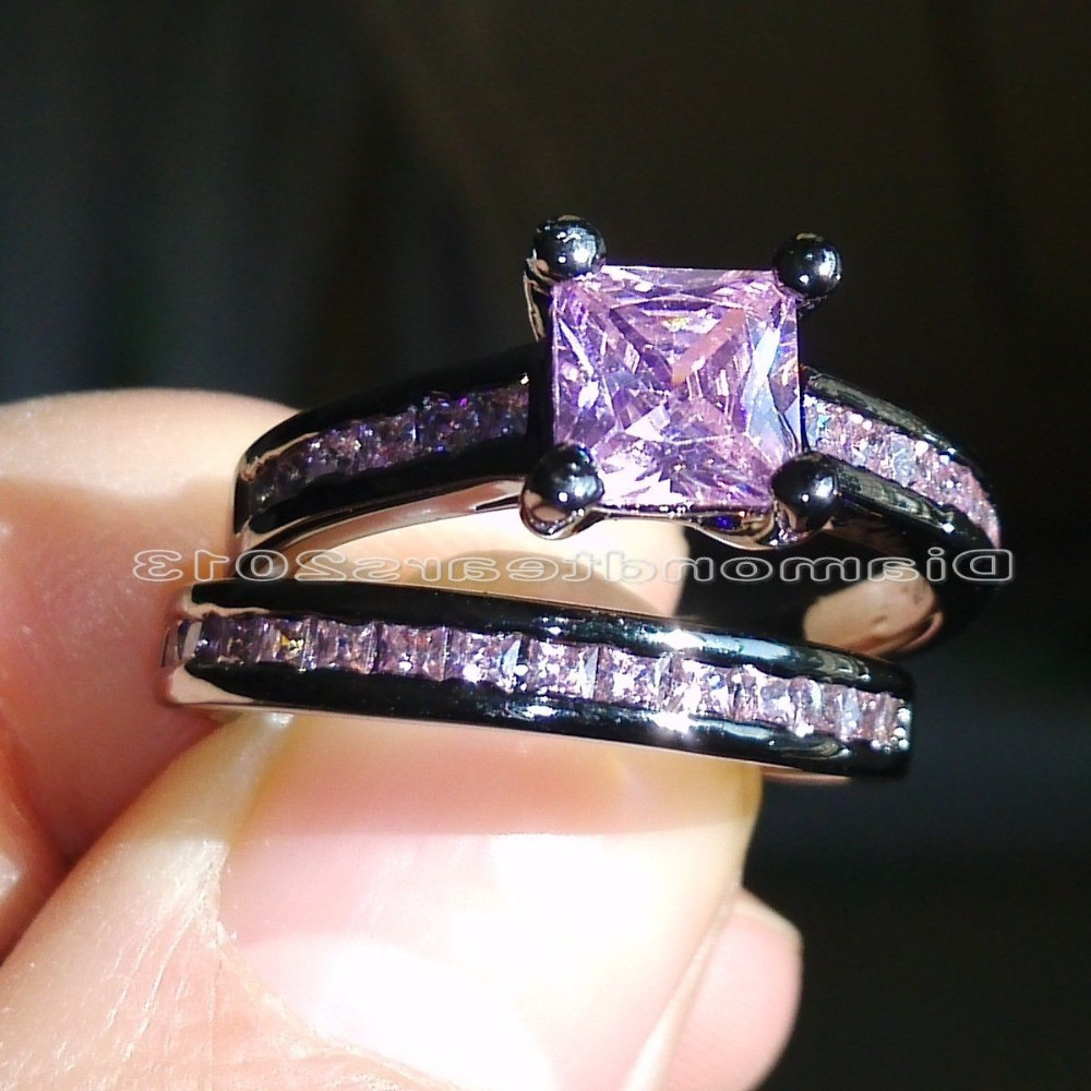Size 5 10 Fashion Jewelry 10kt black gold filled pink AAA CZ