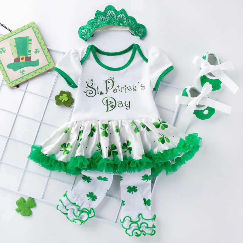St Patricks día bebé niña ropa 4 piezas Set verde estampado mamelucos + zapatos de cabeza Conjunto 3 6 12 24 mono de bebé recién nacido mes