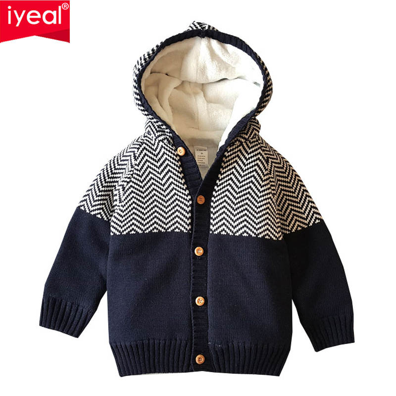IYEAL Boys Cardigan Thick Warm Hooded Fleece Knitted Sweater Kids Casual Winter Baby Cardigan Winter Children Sweaters for 1-4Y