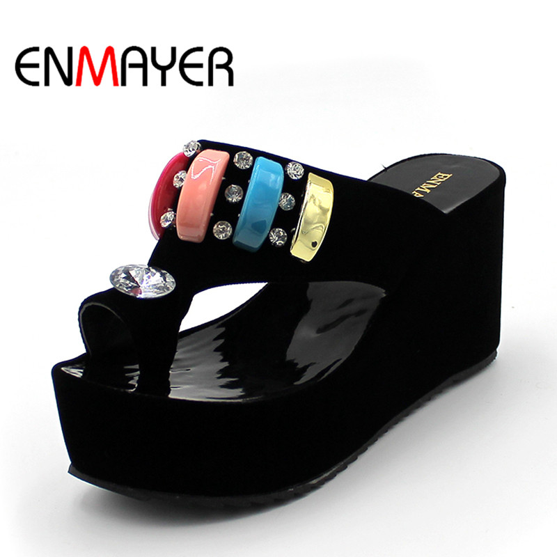 ENMAYER Size 34-43 Fashion Sandals Cutout Wedge Heels Platform Open Toe Summer Shoes Flip Flops Chic Sandals Sexy Women Sandals enmayer summer women fashion sandals pumps shoes rhinestone peep toe zip thin heels platform large size 34 43 black orange green