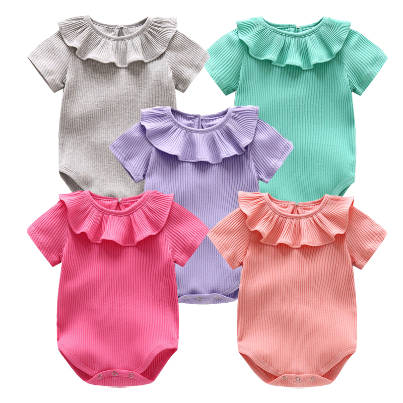 Baby Rompers Newborn Baby Clothes Girl Summer Infant Clothes Girls Boys Clothing bebe Clothes Solid Cotton Baby Outfits Jumpsuit
